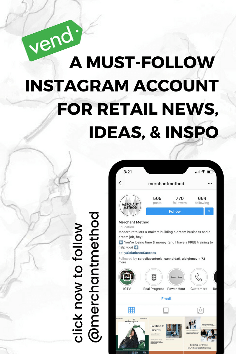 @merchantmethod on Instagram was named a must-follow account for retail news, ideas, and inspiration by Vend | Follow @merchantmethod | Visit merchantmethod.com/press for more info.